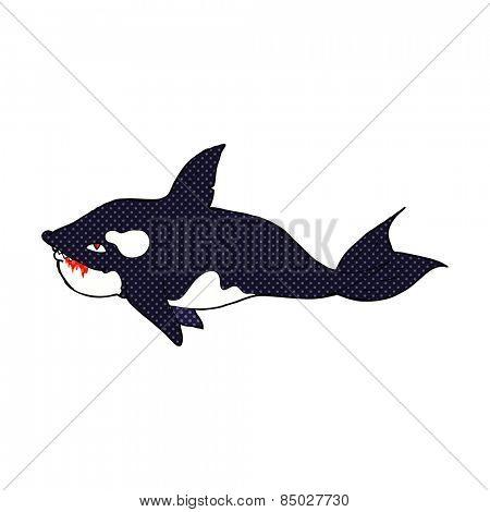 retro comic book style cartoon killer whale