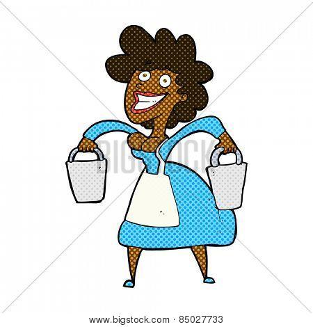 retro comic book style cartoon milkmaid carrying buckets