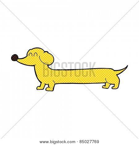 retro comic book style cartoon dachshund
