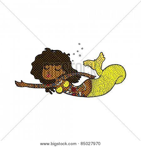 retro comic book style cartoon mermaid covered in tattoos