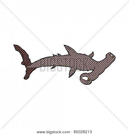 retro comic book style cartoon hammerhead shark