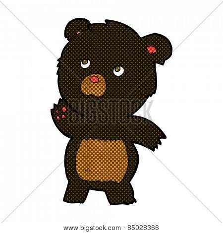 retro comic book style cartoon curious black bear