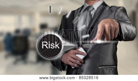 Businessman Working On Risk Management, Business Concept