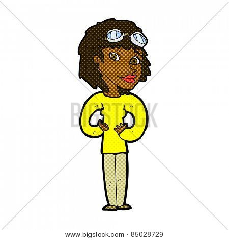 retro comic book style cartoon aviator woman