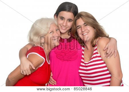 Happy family of three generations of hispanic women isolated on white