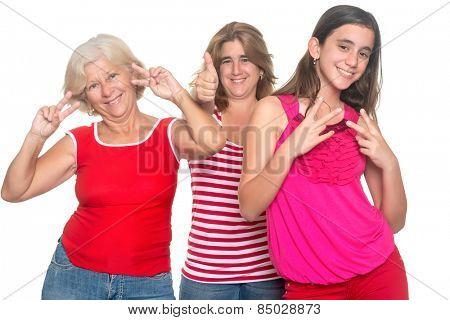 Family of hispanic women having fun having fun isolated on white