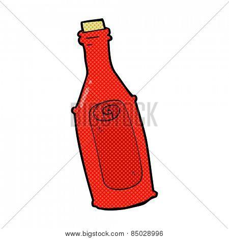 retro comic book style cartoon message in bottle
