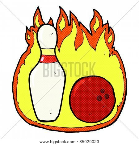 ten pin bowling retro comic book style cartoon symbol with fire