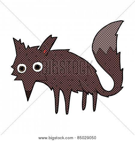 funny retro comic book style cartoon little wolf