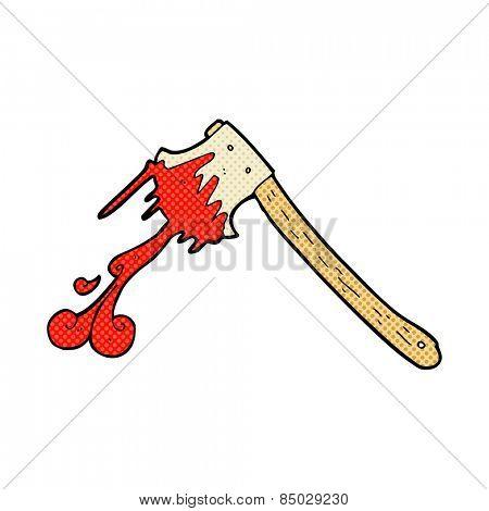 retro comic book style cartoon bloody axe