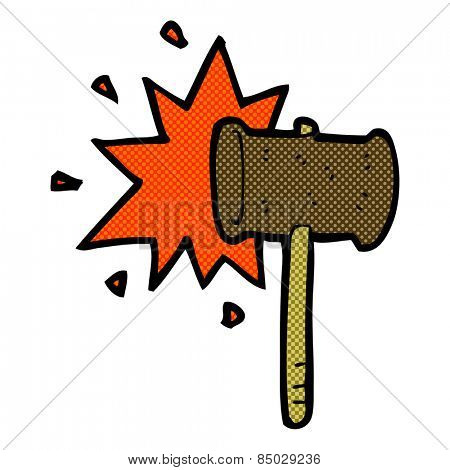 retro comic book style cartoon banging gavel