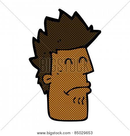 retro comic book style cartoon man feeling sick