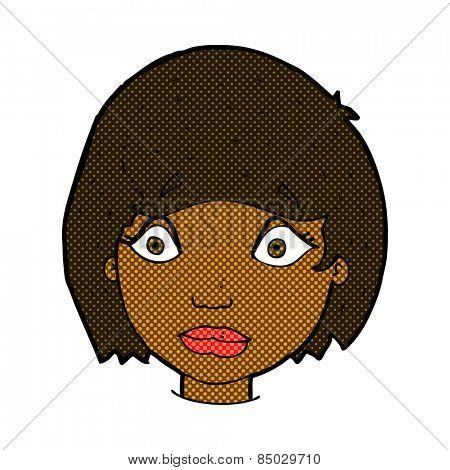retro comic book style cartoon worried female face