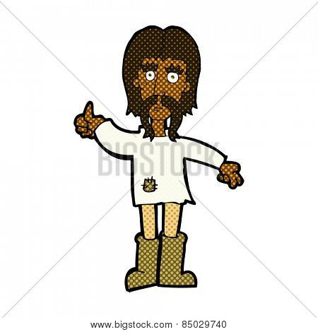 retro comic book style cartoon hippie man giving thumbs up symbol