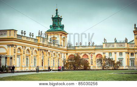 WARSAW, POLAND/EUROPE - NOVEMBER 9 : Wilanow Palace in Warsaw Poland on November 9, 2014. Unidentified man.