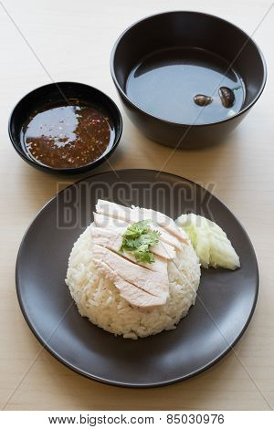Khao mun kai, Thai food gourmet steamed chicken with rice
