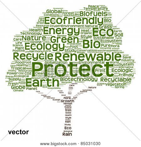 Vector concept or conceptual green text word cloud as tree isolated on white background, metaphor to nature, ecology, energy, natural, life, world, global, protect, environmental, biofuel or recycling