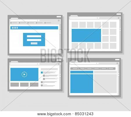 web site page templates collection. Flat design