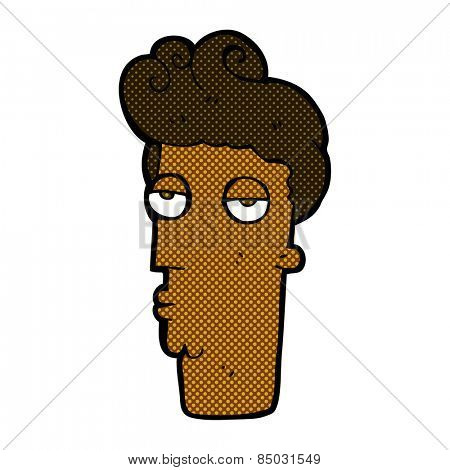 retro comic book style cartoon bored man's face