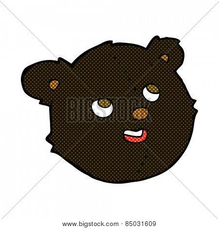 retro comic book style cartoon black bear face