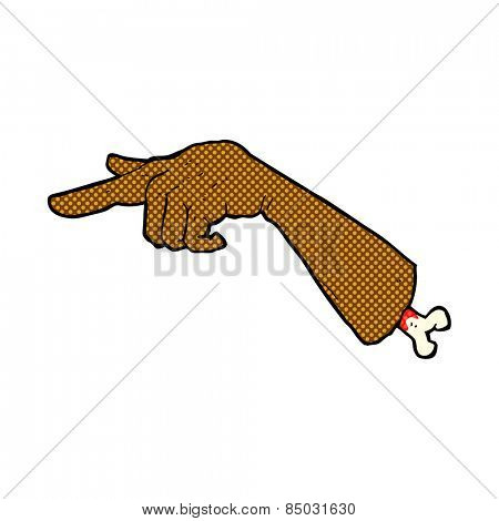 retro comic book style cartoon severed pointing hand