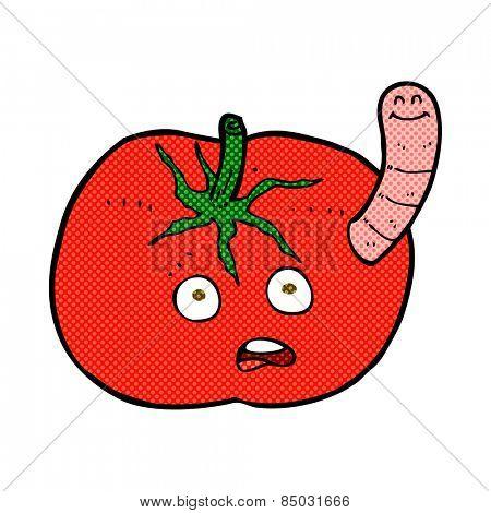 retro comic book style cartoon tomato with worm