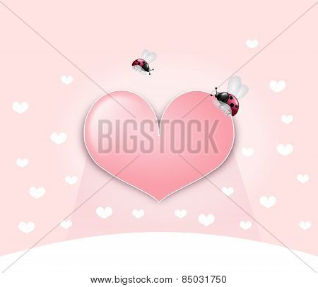 Pink Heart With Ladybugs