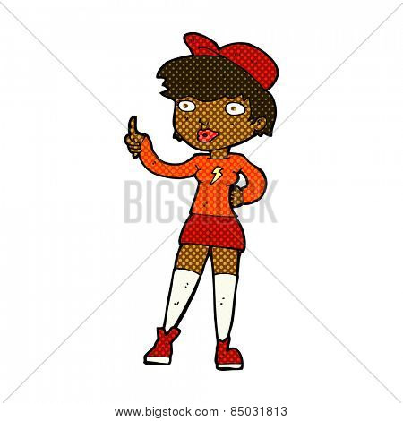 retro comic book style cartoon skater girl giving thumbs up symbol