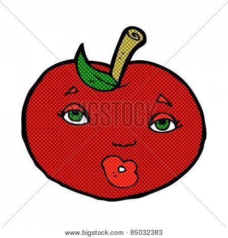 retro comic book style cartoon apple with face