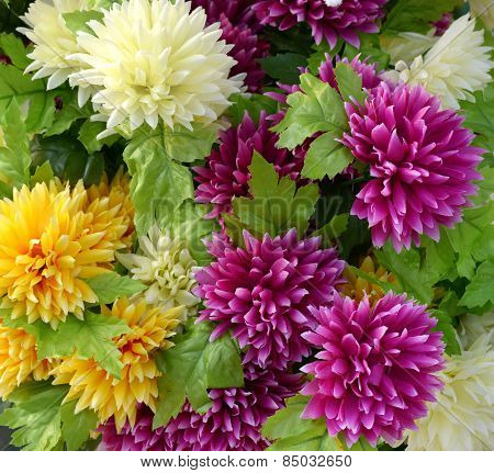 Close Up Bouquet Of Attractive Fake Flowers