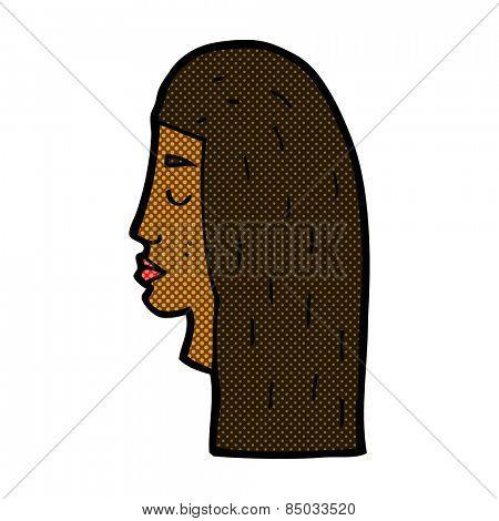 retro comic book style cartoon female face profile