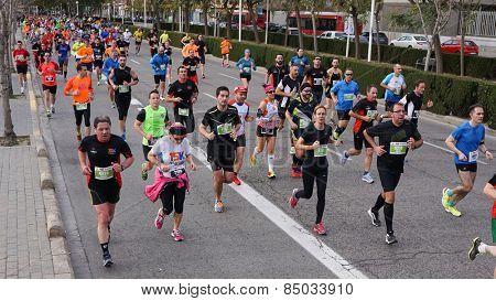 VALENCIA, SPAIN - MARCH 1, 2015: Runners compete in the III 15K Valencia Abierta al Mar run in the streets of Valencia.