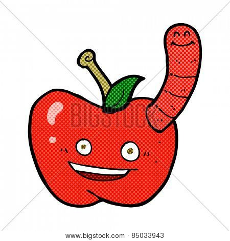 retro comic book style cartoon apple with worm