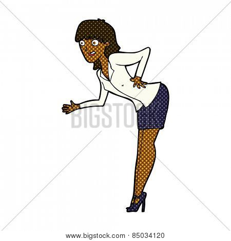 retro comic book style cartoon businesswoman explaining