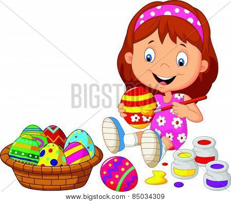 Little girl cartoon painting an Easter egg