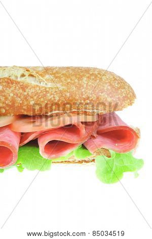 french baguette with smoked chicken salami isolated on white background