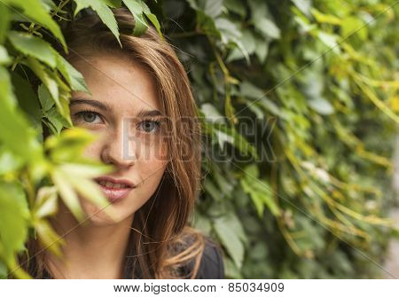 Portrait of a young pretty girl in the Park among the greenery.