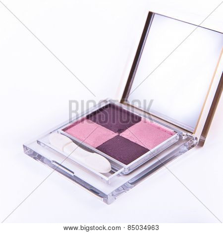 eyeshadows set with brush on white background