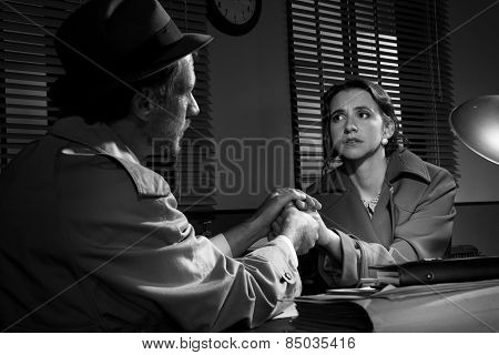 Handsome Detective Comforting A Young Scared Woman