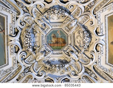 SALZBURG, AUSTRIA - DECEMBER 13: The Lamb og God, fragment of the dome of Salzburg Cathedral on December 13, 2014. Salzburg Cathedral is renowned for its harmonious Baroque architecture.