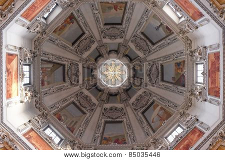 SALZBURG, AUSTRIA - DECEMBER 13, 2014: Dome in Salzburg Dom cathedral was built by Santino Solari, Swiss architect and sculptor. He was a chief architect of Salzburg town in 1612. Salzburg, Austria