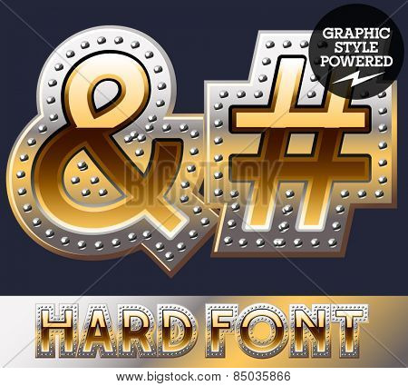 Vector set of bold luxury font in gold color with riveted border. Symbols 2