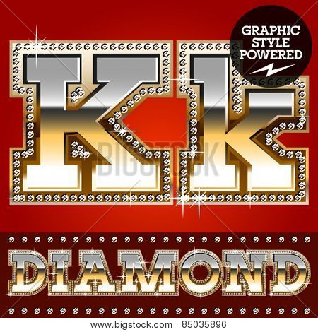 Vector set of luxury font in gold color with diamond border. Letter K