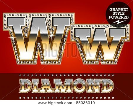 Vector set of luxury font in gold color with diamond border. Letter W