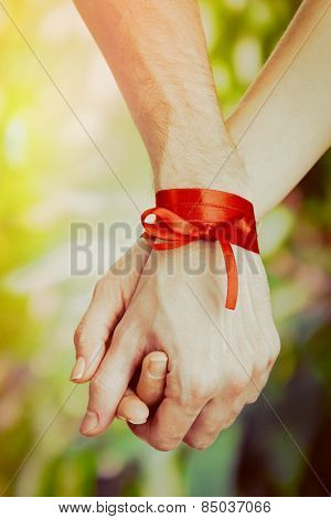 Man's and woman's hands tied with ribbon on sunny nature background