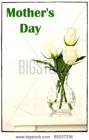 Beautiful bouquet of flowers in vase on window background, Mother's Day concept