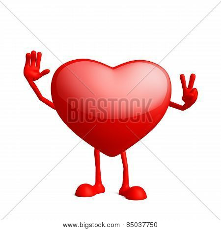 Heart Character With Win Pose