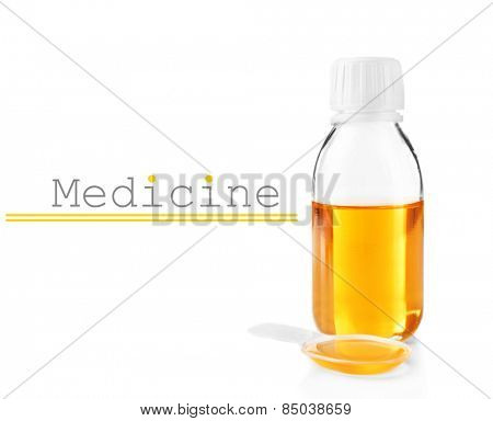 Cough syrup isolated on white