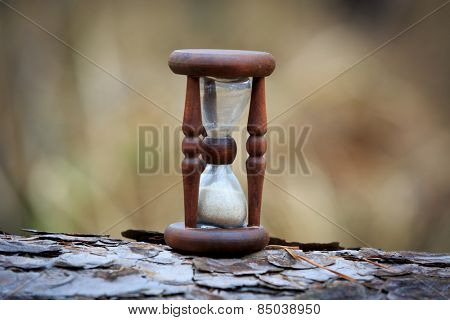 abstract hourglass on wooden log surface