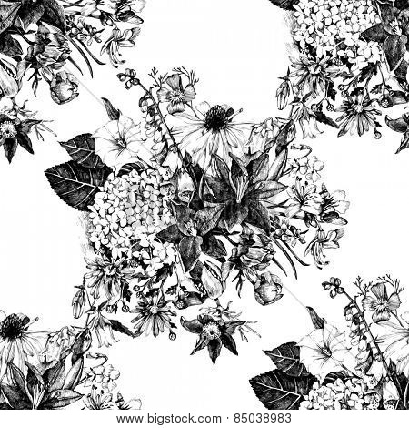 Hand drawn seamless pattern with flowers in vintage style